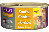 Halo Spot's Choice For Cats, Grain Free Shredded Turkey 12/5.5 oz.