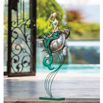 Indoor/Outdoor Metal Mermaid & Turtle Statue
