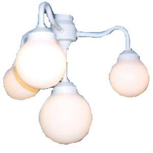 Advantage, The Luna Collection, 1601-00162-ATF 4 Glob White Molded Chandelier