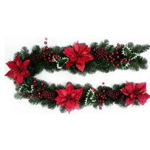 General Foam Plastics, TS-SIU122879 Holiday Wonderland, 6' Artifical Garland With Red Poinsettia, Holly Leaves & Berries