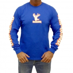 BuckedUp® Longsleeve Royal Blue with Orange Logo Tee