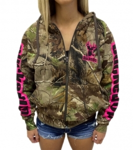 BuckedUp® Realtree® APG Camo Zipper Hoodie with Pink Logo