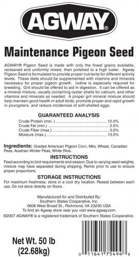 Agway Maintenance Pigeon Seed 50lb