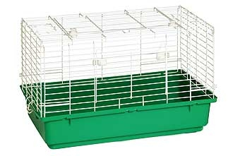 Rabbit Cage With Green Plastic Bottom 24.5in
