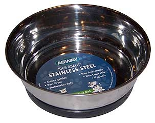 Agway Stainless Steel Heavy Dog Dish W/rubber Base 10oz