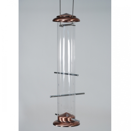Feathered Friend Brushed Copper Nyjer Tube Feeder
