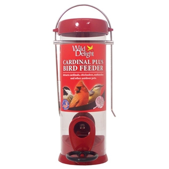 Wild Delight Cardinal Plus Bird Feeder Small Red