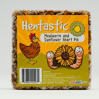 Unipet Hentastic Mealworm And Sunflower Heart Pie Treats For Chickens 7 Oz