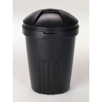 Semco Economy Plastic Trash Can With Lid 32 Gal