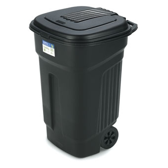 Semco Plastic Trash Can With Wheels & Lid 35 Gal