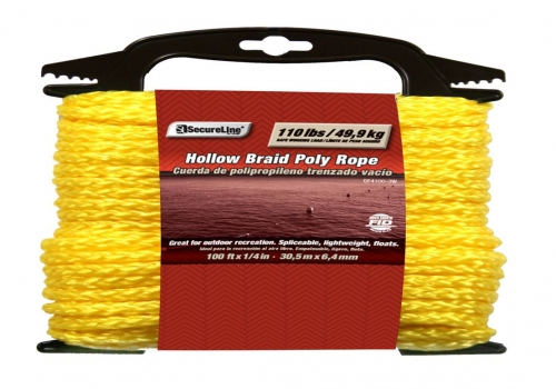 Hollow Braid Poly Rope 1/4in X 100ft