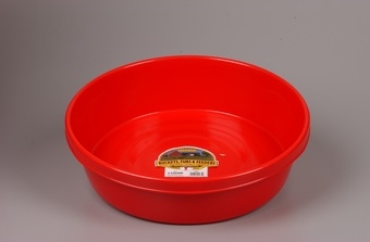 Red Plastic Feed Pan 3gal