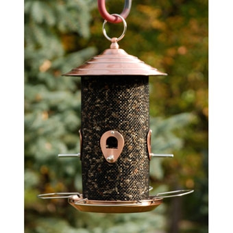 Feathered Friend Brushed Copper Screen Bird Feeder 12in