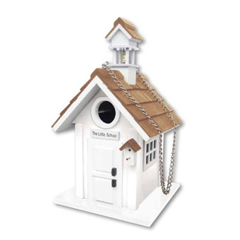 Home Bazaar School House Birdhouse White
