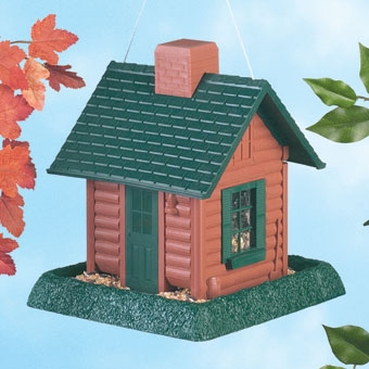 North States Log Cabin Birdfeeder Brown
