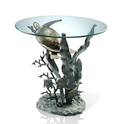 Spi Home Glass Top Sea Turtle Table