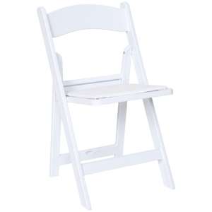 White Resin Padded Folding Chair