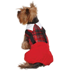 PetEdge Yuletide Tartan Jumper- SM/Red