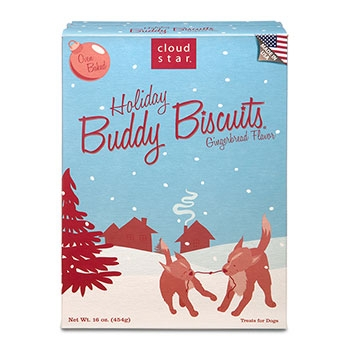 Cloud Star Holiday Baked Buddy Biscuits - Gingerbread 16 oz.