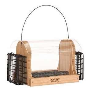 Nature's Way Bamboo Bird Feeders 4 QT Hopper Feeder w/ 2 Suet Cages