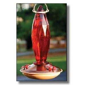 Audubon® Jewel Cut Glass Ruby Colored Hummingbird Feeder