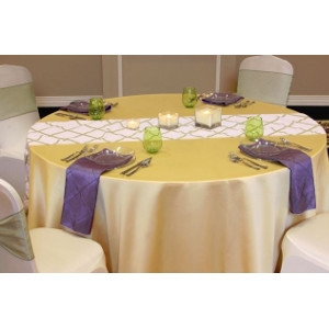 We Rent Linens, Sage On White Crisscross Table Runner