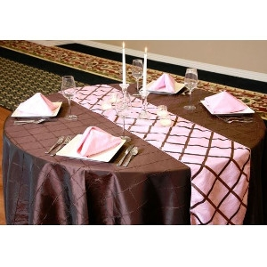 We Rent Linens, Chocolate On Light Pink Crisscross Table Runner