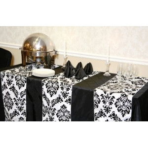 We Rent Linens, White & Black Renaissance Table Runner