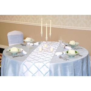 We Rent Linens, Light Blue On White Crisscross Table Runner