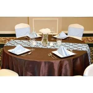 We Rent Linens, Chocolate On Light Blue Crisscross Table Runner