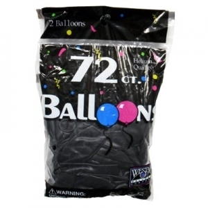 72ct. Latex Balloons - Black