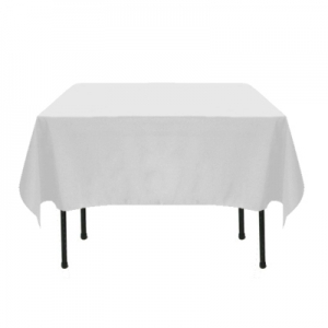 WHITE POLYESTER TABLECLOTH 72X72""