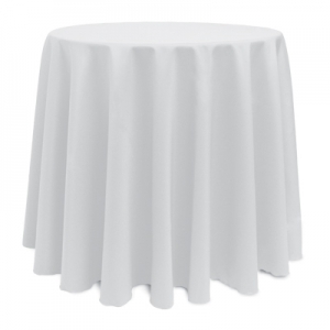 White Polyester Tablecloth 90