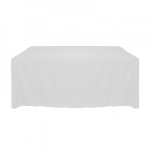 "WHITE POLYESTER TABLECLOTH 90X156"" ROUNDED CORNERS"