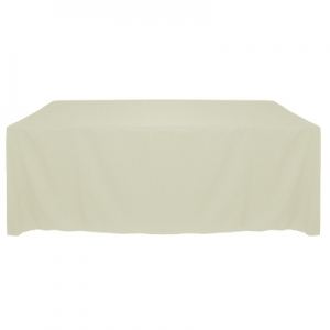 "IVORY POLYESTER TABLECLOTH 90X132"" ROUNDED CORNERS"