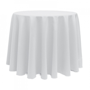 Round White Polyester Tablecloth