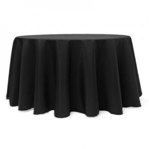 "BLACK POLYESTER TABLECLOTH 120"" ROUND"