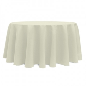 "IVORY POLYESTER TABLECLOTH 120"" ROUND"
