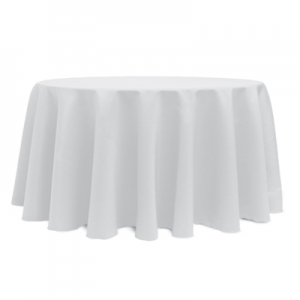 "WHITE POLYESTER TABLECLOTH 132"" ROUND"