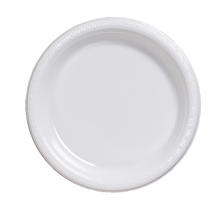 "White Plastic Lunch Plate - 7"" - 20/pack"