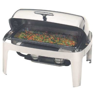 Chafing Dish - 8 QT., Stainless Steel, Rolltop, Full pans and fuel holders included