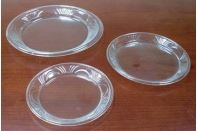 "Clear Plastic Dinner Plate - Scroll Pattern - 8"" - 18/pack"