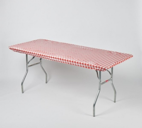 "Fitted Tablecover - Red & White Gingham 30"" x 96"""