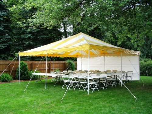 20' x 20' Do It Yourself Canopy Tent - Yellow & White Striped