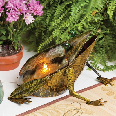Cape Craftsmen Glass & Metal Frog Table Lamp