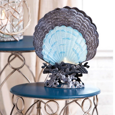 Cape Craftsmen Glass & Metal Scallop Shell Lamp