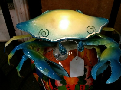 Cape Craftsmen Blue & Yellow Glass and Metal Crab Table Lamp