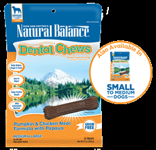 Pumpkin & Chicken Meal Formula with Papaya Dental Chew, Small Breed
