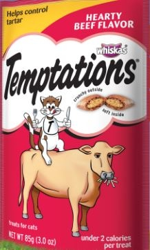 Mars Whiskas Temptations Mega Beef 10/6.3Oz