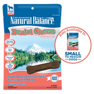 Natural Balance® Dental Chews Sweet Potato & Chicken Meal Formula with Mango Treats